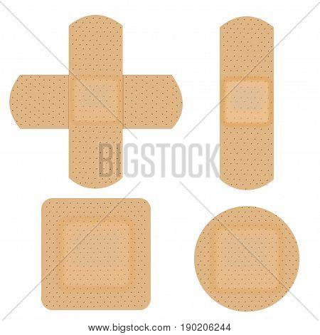Set of adhesive flexible medical plaster. Vector illustration isolated on white background