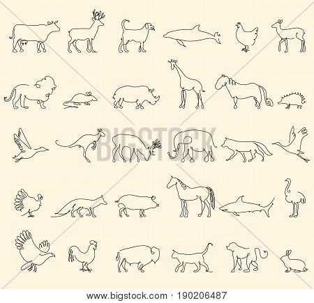 One line animals set, logos. vector stock illustration. Turkey and cow, pig and eagle, giraffe and horse, dog and cat, fox and wolf, dolphin and shark, deer and elephant, stork and chicken
