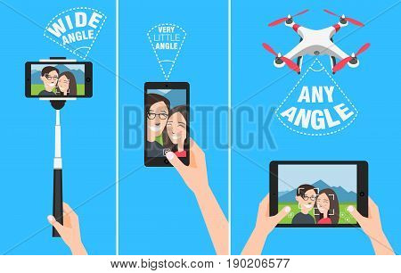 Couple making selfie with drone, selfiestick and using hands. showing different angles and abilities of devices