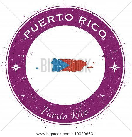 Puerto Rico Circular Patriotic Badge. Grunge Rubber Stamp With National Flag, Map And The Puerto Ric