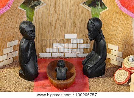 Congo Nativity Set With The Holy Family Carved On Wooden Black