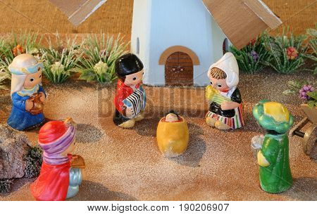 Dutch Nativity Scene With Holland Windmill And The Three Kings