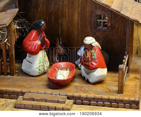 Ecuador Nativity Scene With The Statues Of The Holy Family