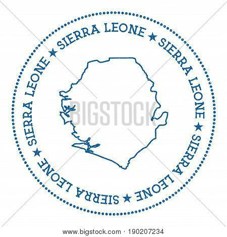 Sierra Leone Vector Map Sticker. Hipster And Retro Style Badge With Sierra Leone Map. Minimalistic I