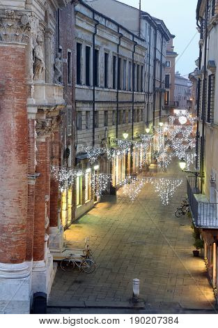 Night Scene Of The City Of Vicenza With Christmas Lights In Ital