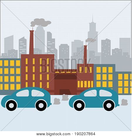 Illustration of Air Pollution.Nature Pollution Plant Pipe Dirty Waste Air Polluted Environment Flat Vector