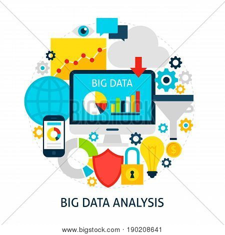 Big Data Analysis Flat Concept. Poster Design Vector Illustration. Set of Business Analytics Objects.