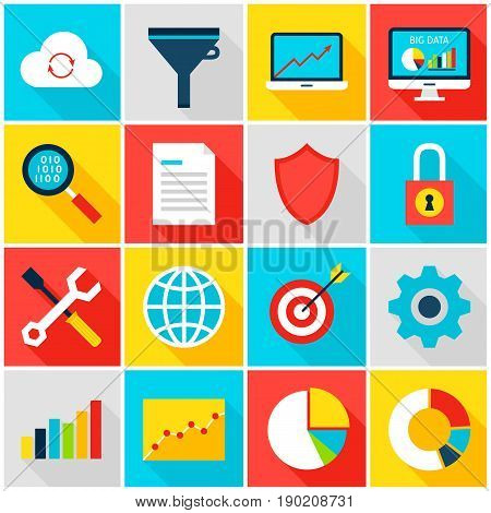 Big Data Analytics Colorful Icons. Vector Illustration. Business Statistics Set of Flat Rectangle Items with Long Shadow.