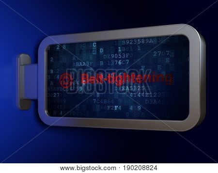 Finance concept: Belt-tightening and Target on advertising billboard background, 3D rendering
