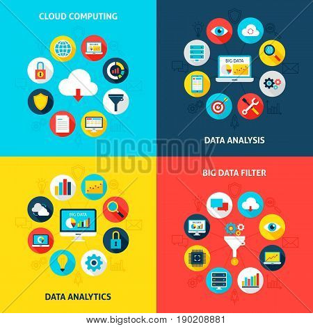Big Data Concepts Set. Vector Illustration of Database Infographics Circle with Flat Icons.