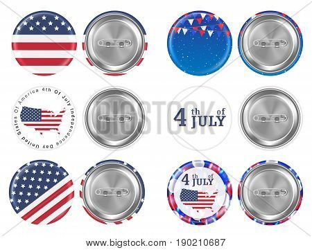 steel round brooch 4th of july and america flag theme