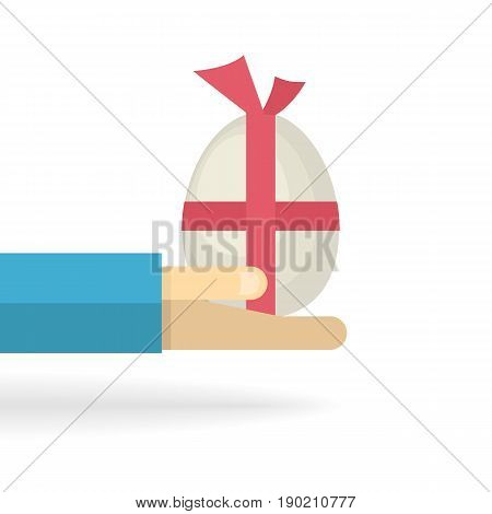 Hand with big egg with a red bow isolated on a white background.Easter symbol.Vector gift egg.Chicken egg.