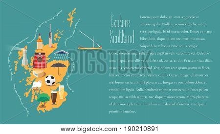Map of Scotland in article template vector illustration design element. Icons with Scottish landmarks famous cultural objects whiskey