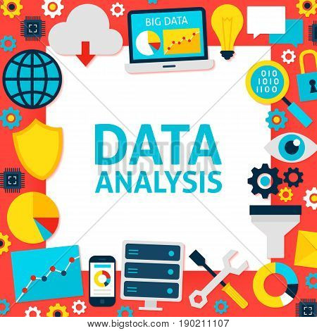 Data Analysis Paper Template. Vector Illustration Flat Style Business Concept.