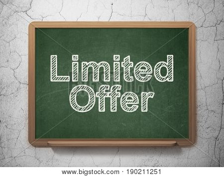 Business concept: text Limited Offer on Green chalkboard on grunge wall background, 3D rendering