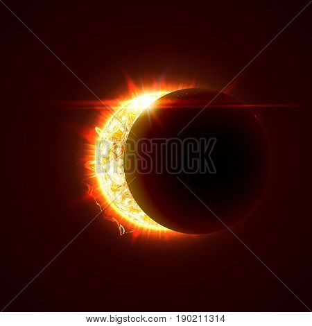New sun eclipse vector illustration, 3d bright sunny summer day. Half of the sun realistic picture
