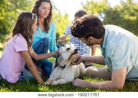 Happy family enjoying in park on sunny a day