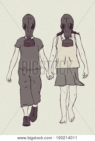 Kids with gas mask holding hands image