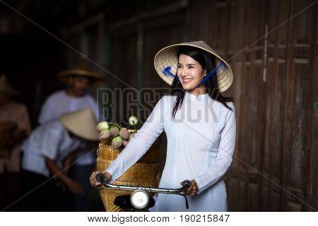 VIETNAM Beautiful women in Ao Dai Vietnam Traditional dress In Vietnam War Concept portrait Ao Dai Vietnam.