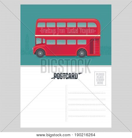 Postcard template with greetings from United Kingdom UK with red double-decker. Symbol of London in vector illustration