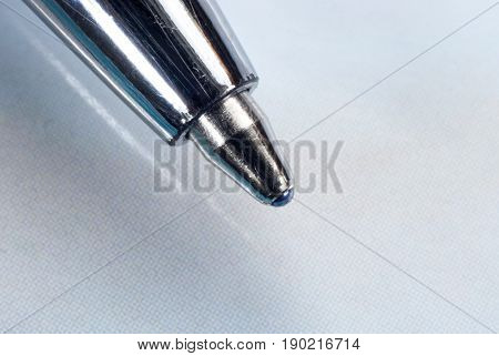 Ball point pen with blue ink (close-up)