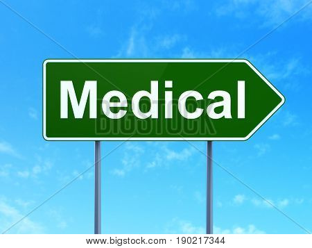 Healthcare concept: Medical on green road highway sign, clear blue sky background, 3D rendering