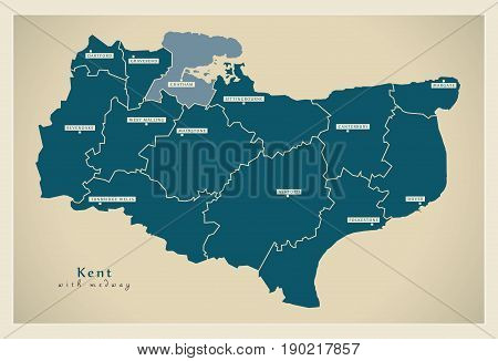 Modern Map - Kent County With Districts Including Medway Uk Illustration