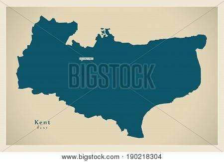 Modern Map - Kent County Uk Illustration