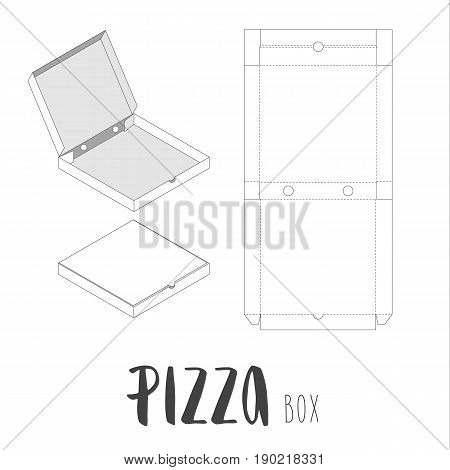 Stock vector box for pizza. Unwrapped and 3d image. With lettering