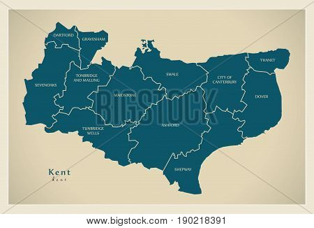 Modern Map - Kent County With Labes Uk Illustration