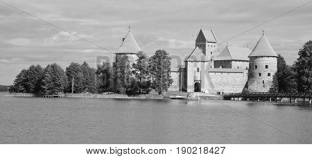 TRAKAI LITHUANIA SEPTEMBER 14 2015: Trakai Island Castle is an island castle located in Trakai, Lithuania on an island in Lake Galve. The castle is sometimes referred to as