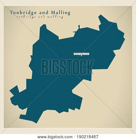 Modern Map - Tonbridge And Malling District Uk Illustration