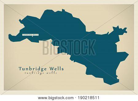 Modern Map - Tunbridge Wells District Uk Illustration