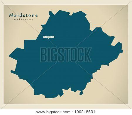 Modern Map - Maidstone District Uk Illustration