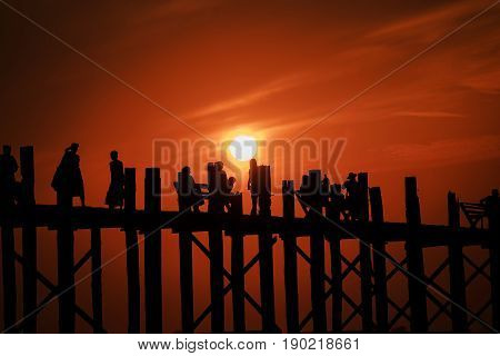 MYANMAR U Bein Bridge Silhouette in twilight in Mandalay Myamar.
