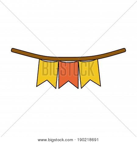 white background with colorful festoons in shape of square with peaks in closeup with thick contour vector illustration