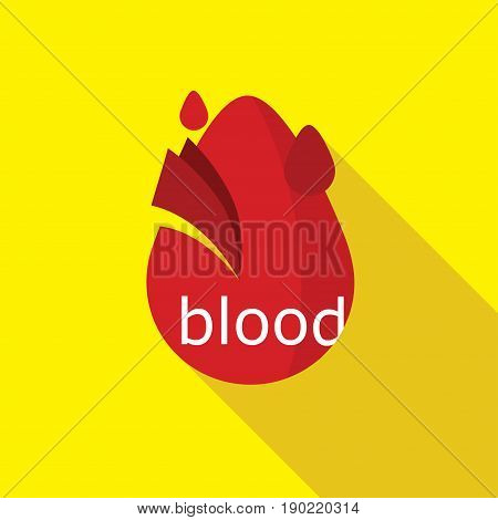Simple Flat Blood Drop Logo icon with shadow