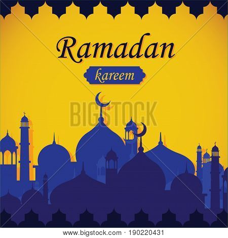 vector illustration of ramadan background with yellow and blue color