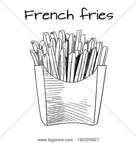 French Fries sketch, hand drawn fast food VECTOR illustrtion. Outline sketch. Black lines, isolated on white background