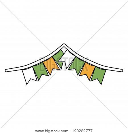 color sections silhouette of festoons in shape of square with peaks and thick rope vector illustration