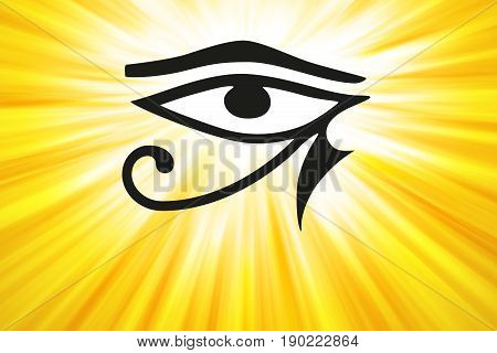 Eye of Horus and golden light rays. Ancient Egyptian symbol of protection, royal power and good health, personified in goddess Wadjet, also written Wedjat. Similar to Eye of the god Ra. Illustration.