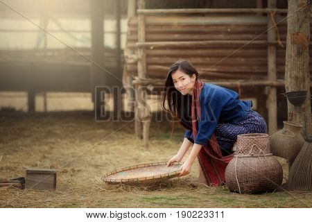 Beautiful Laos women in the Laos traditional dress sitting are working in farm