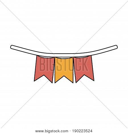 color sections silhouette of festoons in shape of square with peaks in closeup with thick contour vector illustration