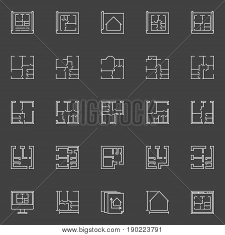 Floor plan icons - vector collection of outline house plans signs on dark background