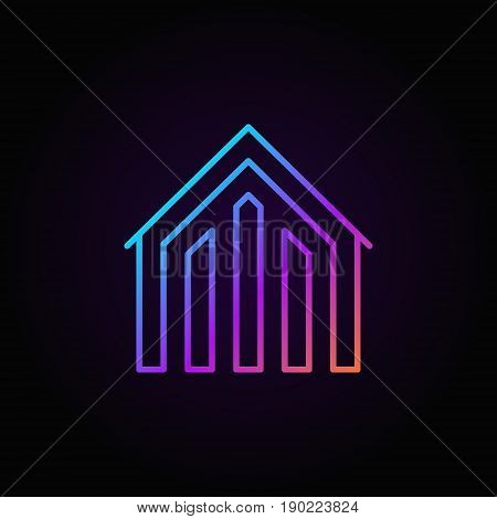 House colorful icon - vector concept property symbol or logo in thin line style on dark background