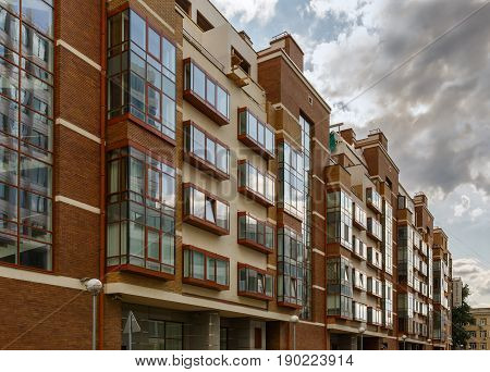 MOSCOW/ RUSSIA - JULY 16, 2015. Modern apartment building from residential compound Aquamarine in Moscow, Russia.