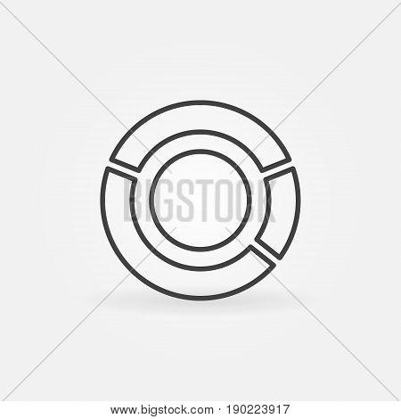 Pie chart icon - vector minimal round diagram symbol in thin line style