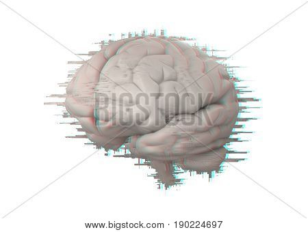 brain with glitch effect isolated on white 3d rendering