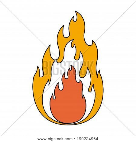 color sections silhouette of flame in closeup with thick contour vector illustration