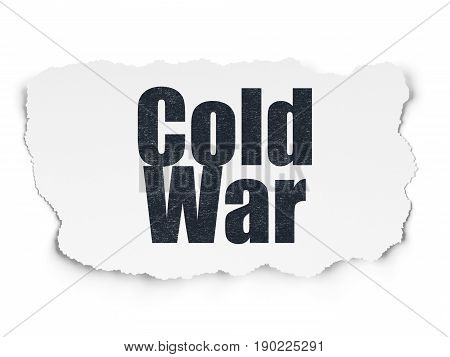 Politics concept: Painted black text Cold War on Torn Paper background with  Tag Cloud